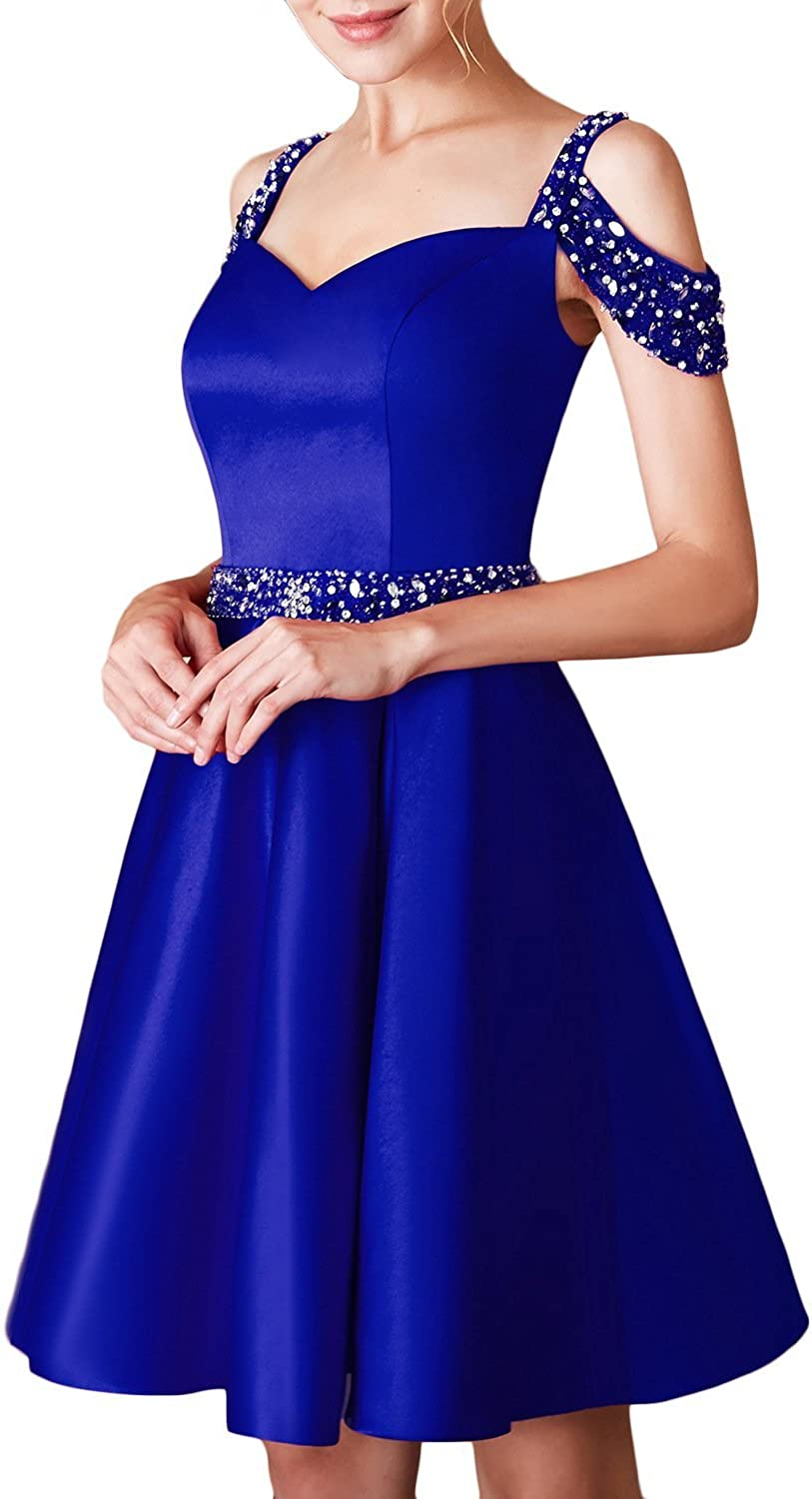 Scarisee Womens Aline Off Shoulder Beaded Homecoming Prom Party Dress ShortSA23