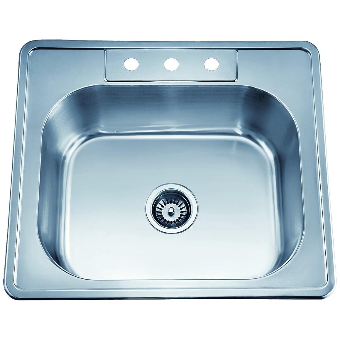 Dawn AST103 Top Mount Single Bowl Sink, Polished Satin