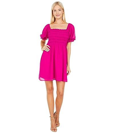 WAYF Smocked Short Sleeve Mini Dress