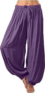 QiFei Stoffen broek voor dames, lange harembroek, slipbroek, strandbroek, zomerbroek, rechte pijpen, vrijetijdsbroek, stof...