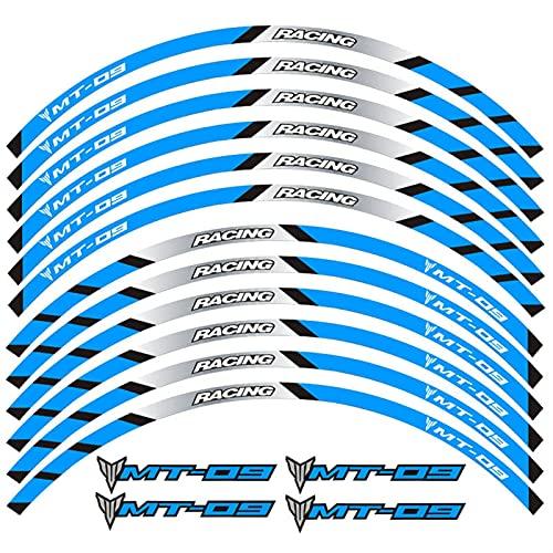Calcomanías de la Rueda de la Motocicleta Pegatinas Rim Raya Frontal Ruedas TRASERAS para Yamaha MT-09 (Color : A Blue)