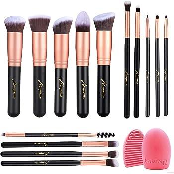 Naropox Brochas de Maquillaje 14 Piezas, Profesional Libre de Crueldad Pinceles de Maquillaje Kabuki con Limpiador, Premium Suaves y Firmes(Oro Rosa)