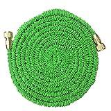 YMMONLIA Flexibler Gartenschlauch,Wasserschlauch Flexschlauch Bewässerung Dehnbar bis 7.5-45 Meter, Wasserschlauch flexibel Gartenteichschlauch dehnbar,Metalldüse-15 Meter grün