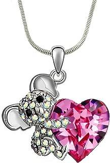 DianaL Boutique Adorable Koala Teddy Bear Pink Heart 3D Pendant Necklace 18