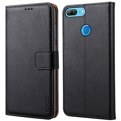 Peakally Cover per Huawei Honor 9 Lite, Flip Caso in PU Pelle Premium Portafoglio Custodia per Huawei Honor 9 Lite, [Kickstand] [Slot per Schede] [Chiusura Magnetica]-Nero