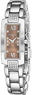 Shine Womens Rectangular Diamond Watch - Swiss Made Brown Face with Sapphire Crystal - Stainless Steel Band with Additional Black Satin Leather Band Rectangle Quartz Watch 1500-ST3-00775