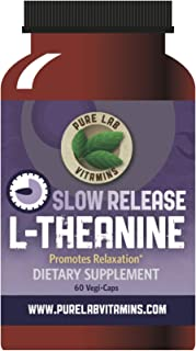 Pure Lab Vitamins L-Theanine Natural Stress & Anxiety Relief Supplement - 200 mg Slow Release Formula - 60 Vegan Caps - 30...