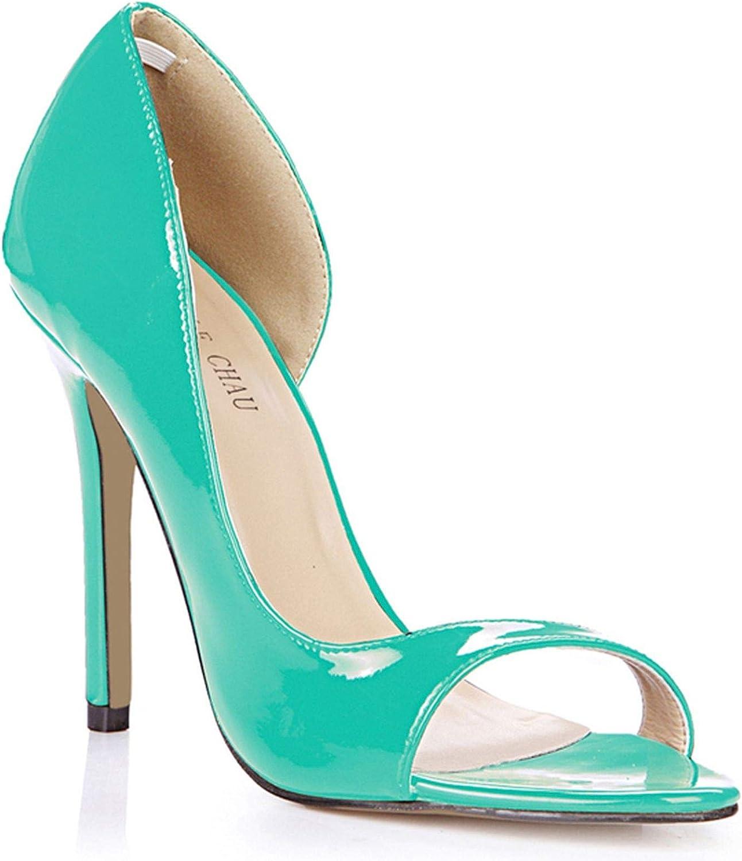 HANBINGPO Black Patent Sexy Party Women shoes Peep Toe Stiletto Heels Side Open Shallow Pumps Plus Size shoes women 0640C-Q1