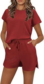 Womens Pajamas Set Waffle Knit Short Sleeve Top and Shorts 2 Piece Outfits Sets Nightwear Loungewear Pjs Sets with Pockets