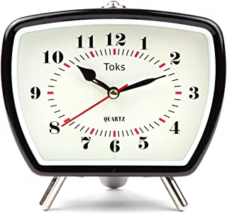 Lily's Home Vintage Retro Inspired Analog Alarm Clock, Looks Like Miniature Television Set with Silver Legs, Small Stylish Clock Adds Character to Any Bedroom, Black (5 1/2