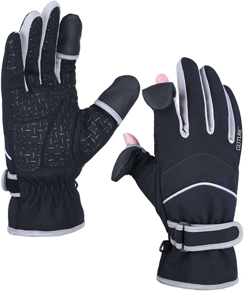 30℉ Ice Fishing Gloves Men Ski Gloves Winter////3M Thinsulate Warm Gloves////Touch Screen Finger Cold Weather Thermal Gloves Anti-Slip Windproof Waterproof Gloves for Cycling Running Driving Work Goture