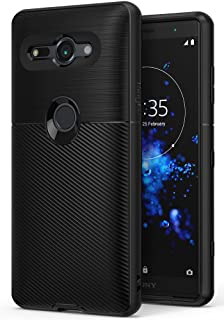 Ringke Onyx Compatible with Xperia XZ2 Compact Case Brushed Metal Design Flexible & Slim Dynamic Stroked Line Pattern Durable Anti Slip for Sony Xperia XZ 2 Compact Case - Black