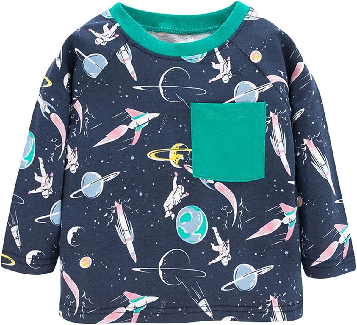 Boy's Long-Sleeve Pullover Sweater Cartoon Graphic Playwear 100% Cotton 2-7T