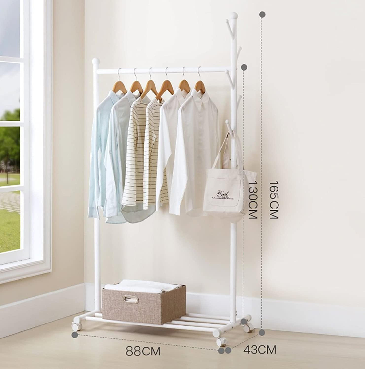 Metal Coat Rack with Hanging Hooks Coat Stand Hats Bags Multi-Purpose Storage shoes Bench Stand with Top Rod for Home Office Hallway Bedroom White 88  43  165CM