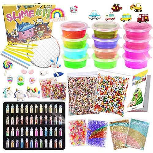 UNGLINGA Slime Kit para Niños Niñas Purpurina Manualidades Juego Incluye Arcilla Seca al Aire, rebanadas de Frutas y Herramientas Creativo Material