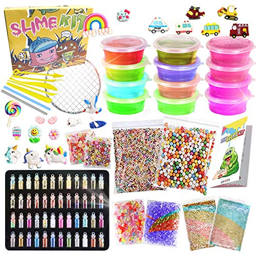 UNGLINGA Slime Set Schleim DIY Zum Selbermachen für Mädchen Jungen Kinder ab 6 Jahren Kunsthandwerk Spielzeug zum Geburtstag Clear Slime Glitter Pulver Einhorn Charms Schaum Bäll