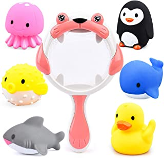 Sotodik Baby Bath Toys 6PCS Bathtub Squirter Toys and 1PCS Scoop Nets Water Toys Bathroom Pool Beach Game Toys for Kids (P...