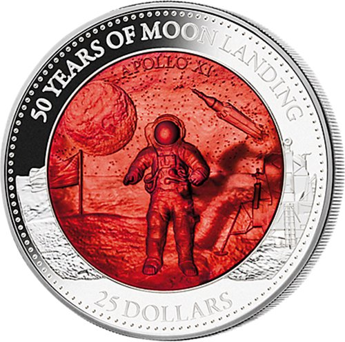 Power Coin Moon Landing Aterrizaje Lunar 50 Aniversario Mother of Pearl 5 Oz Moneda Plata 25$ Solomon Islands 2019