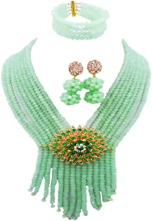 aczuv 8 Rows Costume African Beads Nigerian Necklace Bridal Wedding Jewelry Sets for Women …