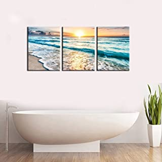 Youk Art 3 Panel Canvas Wall Art for Home Decor Blue Sea Sunset White Beach Painting The Picture Print On Canvas Seascape the Pictures For Home Decor Decoration,Ready to Hang 12x16 Inch 3pcs/set