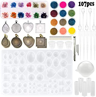 Sthabt - 107pcs Silicone Resin Jewelry Casting Mold with Glitter and Flower Decoration DIY Artcraft Project Gift Pendant Making Tools Set for Beginners