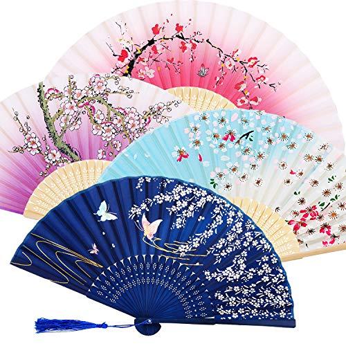 4 ventiladores plegables de mano de bambú con borla para mujer, abanicos de mano de bambú ahuecados para decoración de pared, regalos (morado, azul oscuro, rosa y azul cielo)