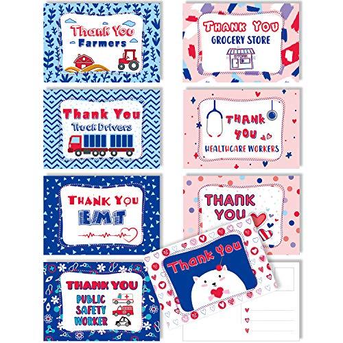 40 Stücke Dank Unserer Helden Leere Postkarten, Blau Rot Patriotisches Thema Postkarten Sammlung Packung Set Grußkarten Foto Requisiten Dankeskarten zum Mitarbeiter an der Front Danke, 4 x 6 Zoll
