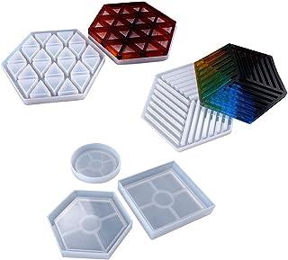 WT-YOGUET 5 piezas Molde de silicona para posavasos, Moldes de resina epoxi de cono, Columna de resina de piedra Columna de cristal Colgante de silicona Molde de resina UV Herramientas de joyería