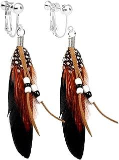 Handmade Bohemian Women Brown Feather Long Tassel Dangle Clip-on Earrings Screw Back for Kids Girls