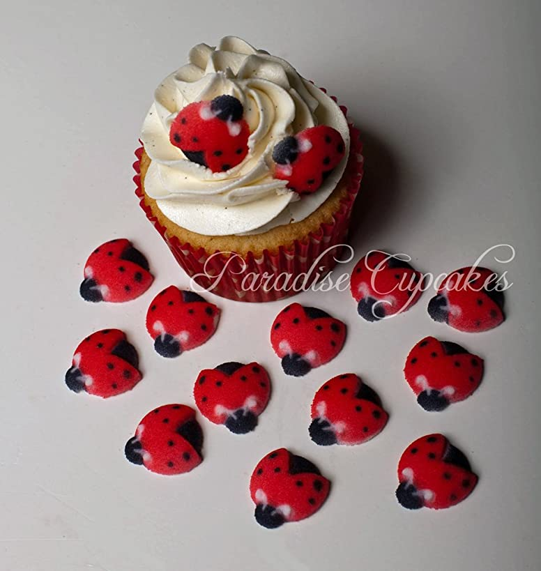Set of 12 Edible Sugar Ladybug Toppers for Cakes or Cupcakes
