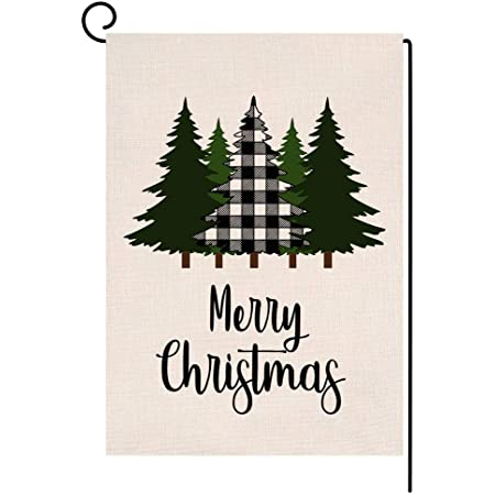 Amazon Com Blkwht Christmas Garden Flag 12 5 X 18 Vertical Double Sided Winter Buffalo Tree Outdoor Decorations Burlap Small Yard Flag S1026 Garden Outdoor
