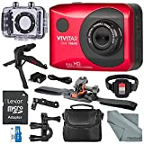 Vivitar DVR786 Full HD Waterproof Action Camera (Red) Accessory Bundle with Xpix Tripod + 32GB + Case + Fibertique Cloth