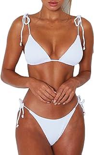 18ec9206a1 Bisting Womens Ribbed Tie Shoulder Tie Side Triangle Bikini Set 2 Piece  Swimsuit