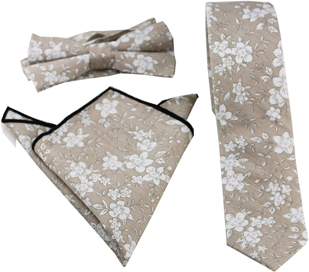 Coachella Ties Khaki Flowers Cotton Necktie Skinny Tie Pocket Square Bowtie (Tie+Pocket Square+Bowtie)