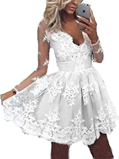 BessDress Long Sleeves Short Homecoming Dresses Lace Cocktail Party Ball Gown BD497