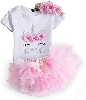NNJXD Mädchen Neugeborene Krone Tutu 1. Geburtstag 3-teilig Blumen Outfits Strampler  Rock  Stirnband