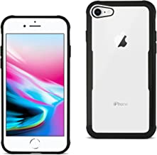 Reiko iPhone 8 Hard Glass TPU Case With Tempered Glass Screen Protector In Clear Black