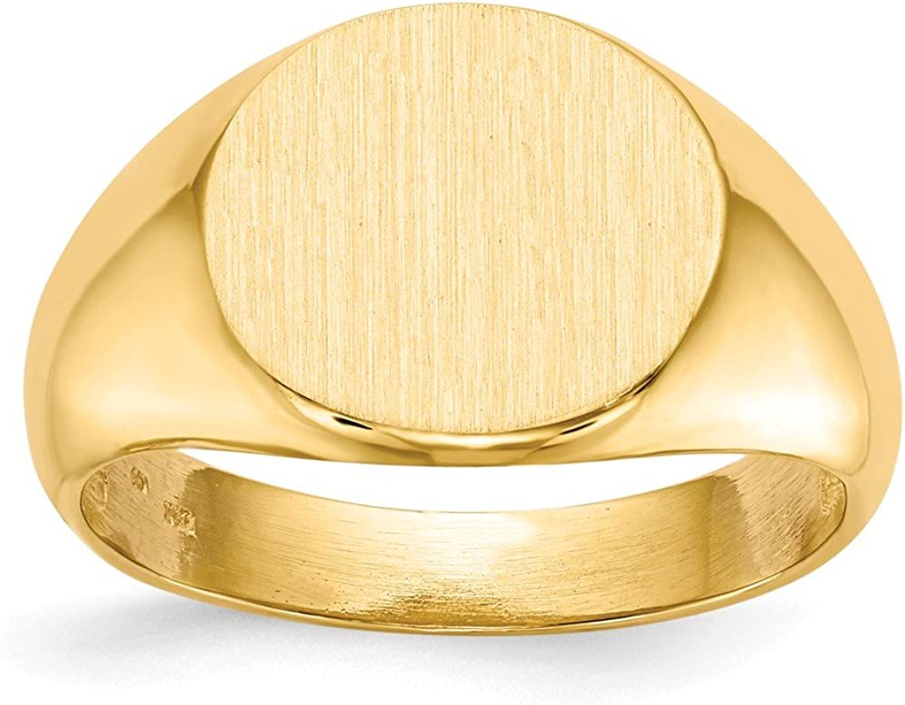 14k Yellow Gold 12.5x13.5mm Mens Signet Band Ring Size 10.00 Man Fine Jewelry For Dad Mens Gifts For Him
