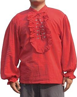 Svenine Poets Shirt Renaissance Pirates Blouse Saloo Gauze Cotton Long Front Frill