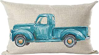 ramirar Ink Oil Painting Watercolor Blue Pickup Truck Decorative Lumbar Throw Pillow Cover Case Cushion Home Living Room B...