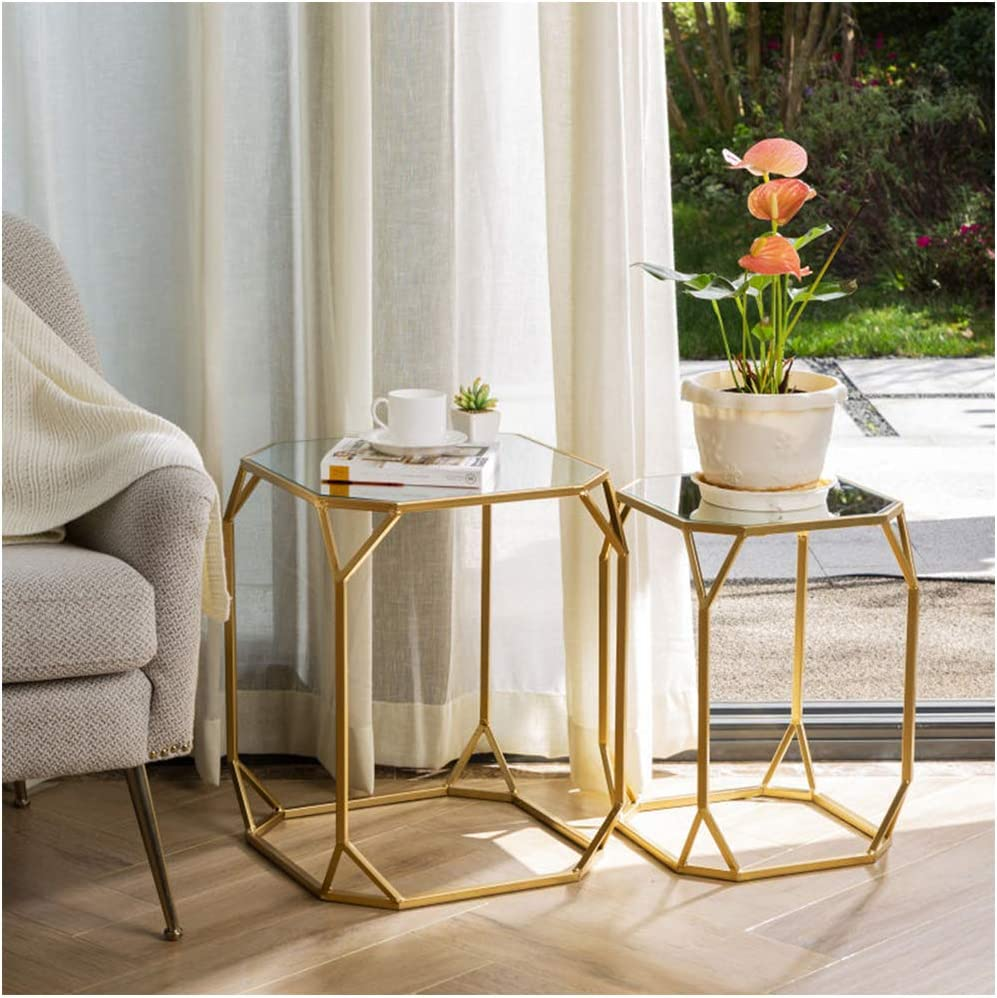 Glitzhome Set Trust of 2 Nesting Side Accent National products Tables Coffee Decorative