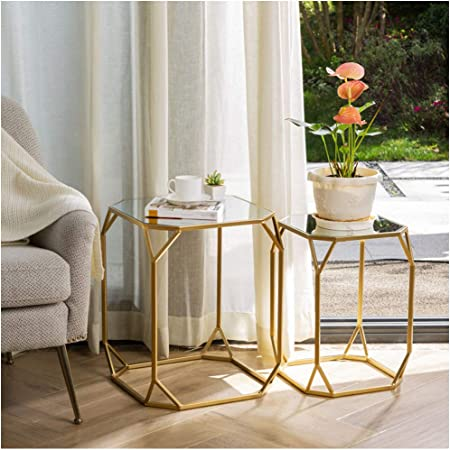 Amazon Com Glitzhome Set Of 2 Nesting Coffee Tables Decorative Accent Side End Tables Plant Stand Chair For Bedroom Living Room Home Office And Patio Kitchen Dining