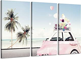 Coastal Canvas Wall Art Painting: Beach Palm & Pink Car Artwork Picture Print on Canvas for Bedroom (26`` x 16`` x 3 Panels)