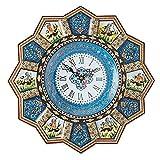 LPUK Reloj de pared Khatam de lujo Colección Sunclock Serie 2 Reloj de pared de madera con incrustaciones de sol y polo en forma de sol, hecho a mano, artesanal persa Diámetro: 32 cm