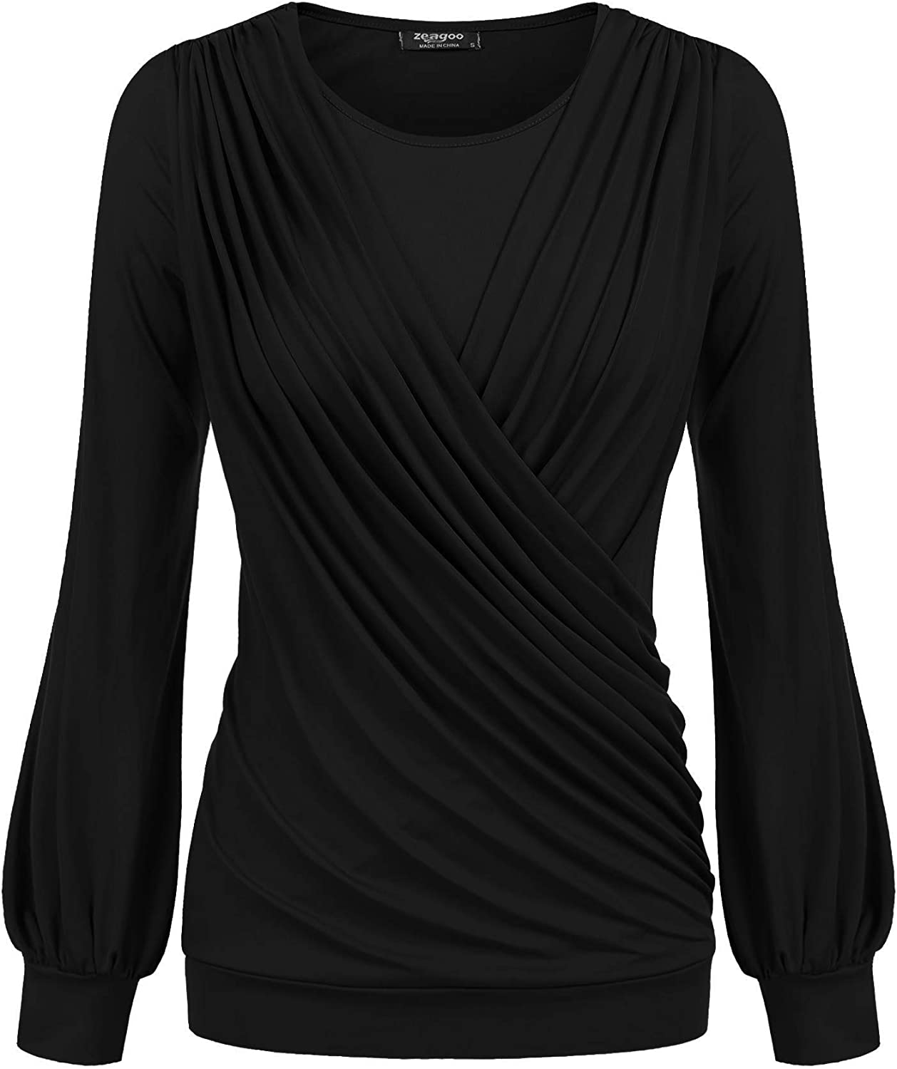 Zeagoo Women Drape Tops Stretchy Round Neck Tops Long Sleeve Front Pleated Blouse