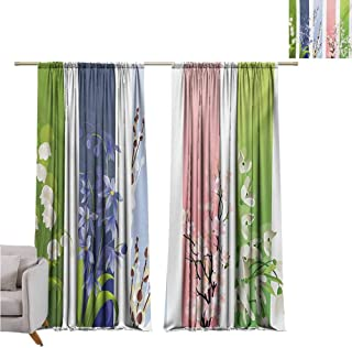 GUUVOR Flower Shading Insulated Curtain Spring Flowers on Different Backgrounds Lily Blossoms Valley Primrose Floral Print Soundproof Shade W42 x L63 Inch Multicolor
