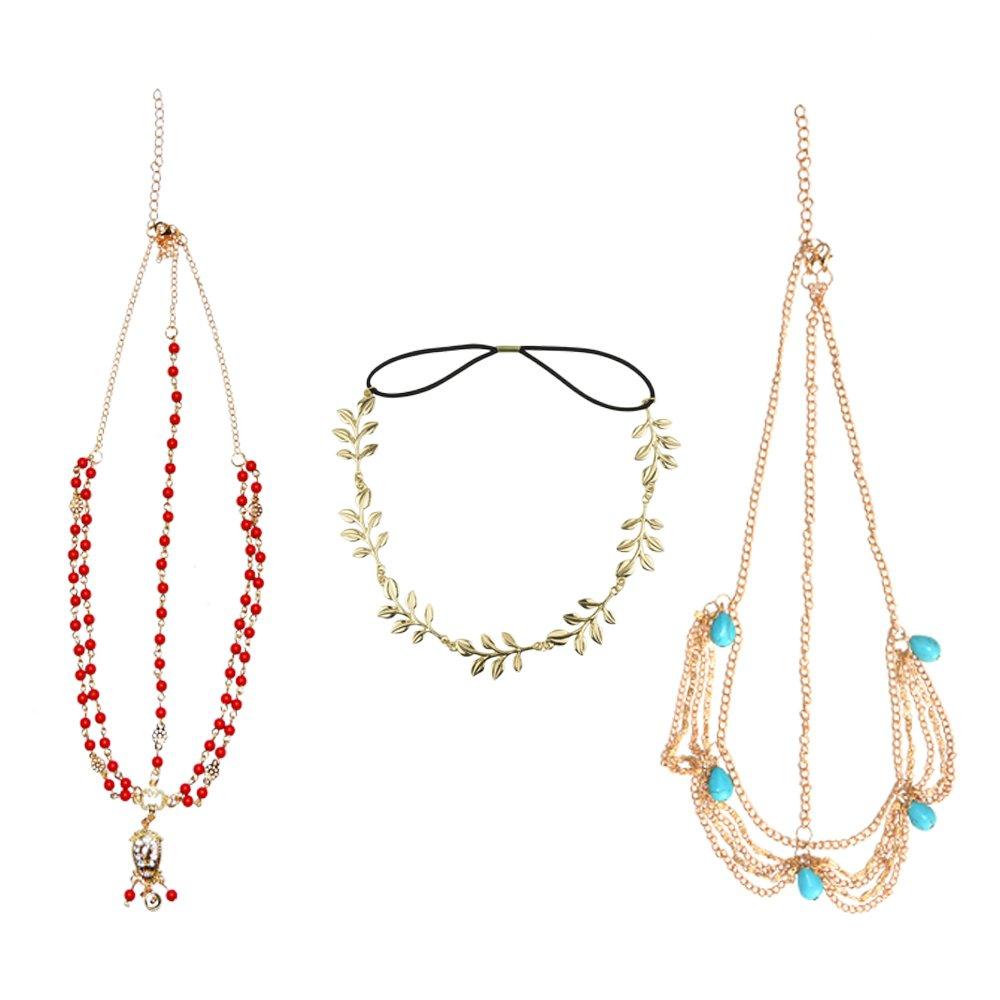 DRESHOW Head Chain Hair Accessories Bohemian Diamond Pearl Tassel Hair Band Alice Band Gold Leaf Chain Headband 3 Pack