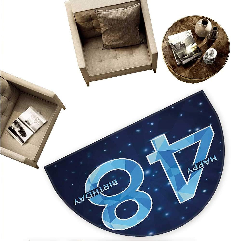 48th Birthday Half Round Door mats Anniversary Pattern on Star Night Sky Polygon Aging Vintage Image Bathroom Mat H 78.7  xD 118.1  Indigo Pale bluee