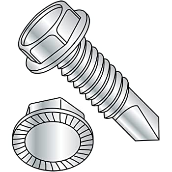 Hex Drive 3//4 Length #3 Drill Point Zinc Plated Finish 3//8-12 Thread Size Hex Washer Head Steel Self-Drilling Screw Pack of 10