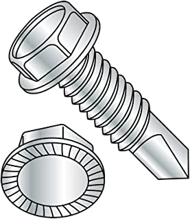 Type A 3 Length Zinc Plated #8-15 Thread Size Pack of 1000 Steel Sheet Metal Screw Hex Washer Head Slotted Drive